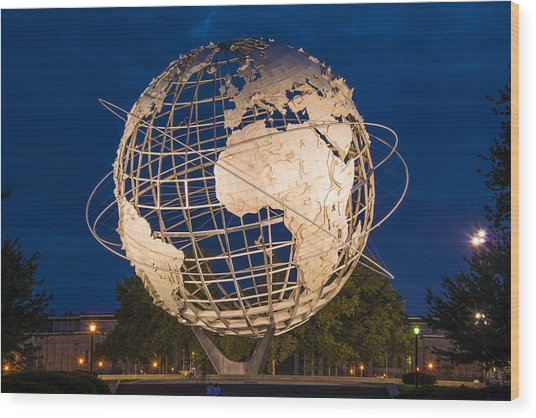 Unisphere Nights Wood Print