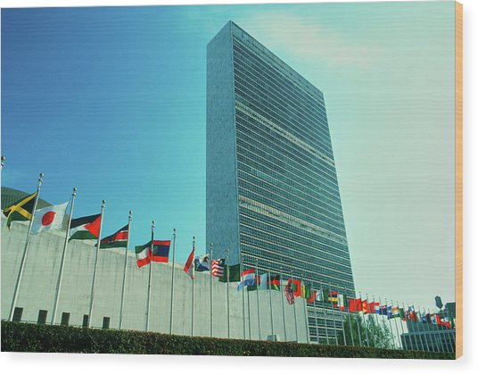 United Nations Building With Flags Wood Print