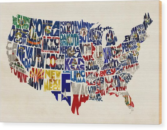 United States Flags Map Wood Print