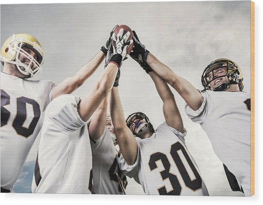 Unity Of American Football Players Wood Print by Skynesher
