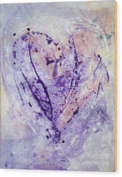 Universal Heart Pastel Purple Lilac Abstract By Chakramoon Wood Print by Belinda Capol