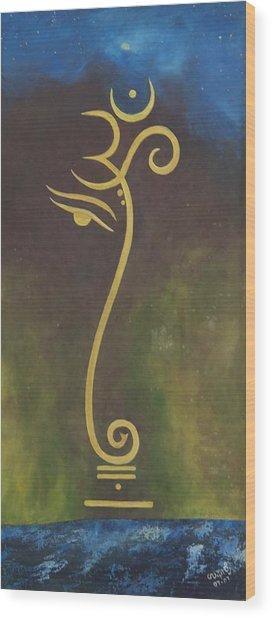 Universe Wood Print by Usha Rai