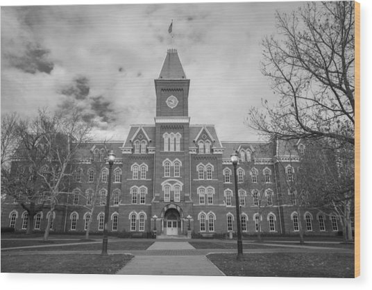 University Hall Black And White Wood Print