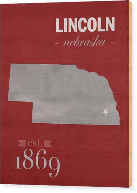 University Of Nebraska Lincoln Cornhuskers College Town State Map Poster Series No 071 Wood Print