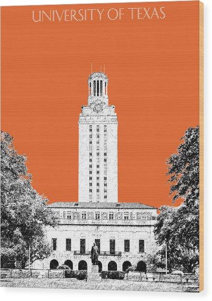University Of Texas - Coral Wood Print