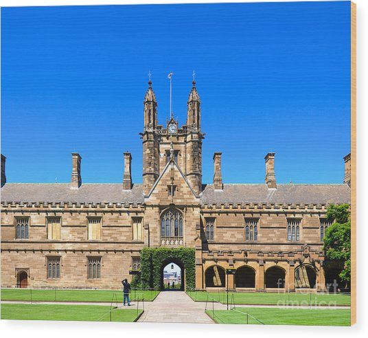 University Quadrangle With Gothic Revival Architecture Wood Print