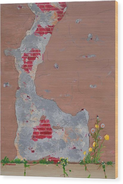 Unmasking The Red Brick Wall Wood Print