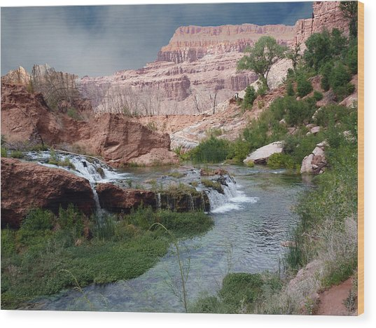 Unspoiled Waterfall Wood Print
