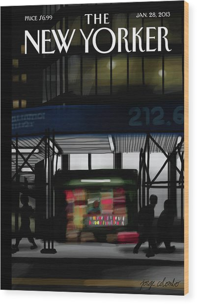 Newsstand Wood Print