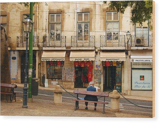 Lisbon Street Scene Wood Print