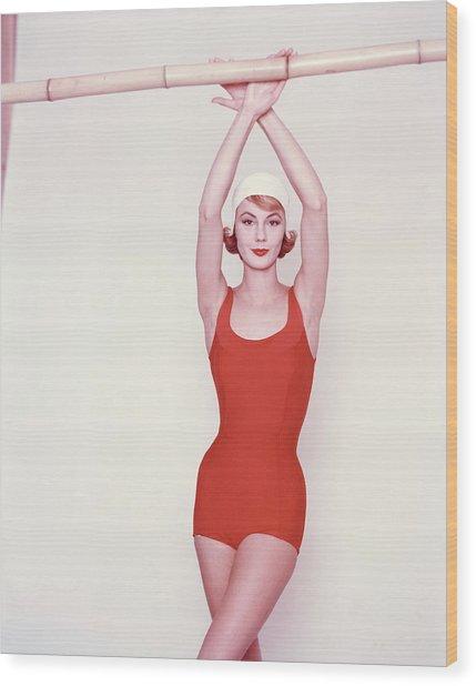 Vogue January 1st, 1958 Wood Print by Richard Rutledge