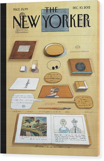 New Yorker December 10th, 2012 Wood Print by Saul Steinberg