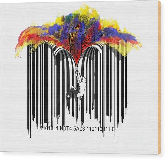 Unzip The Colour Code Wood Print