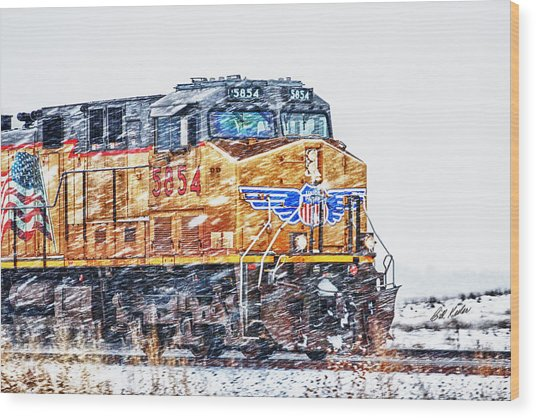 Up 5854 In The Snow Wood Print