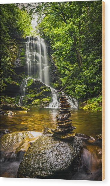 Upper Catabwa Falls Wood Print