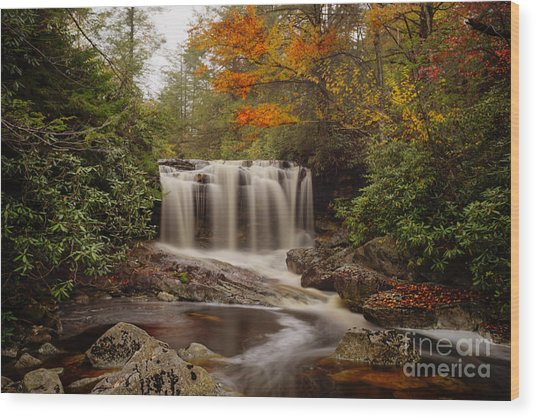 Upper Falls Waterfall On Big Run River  Wood Print