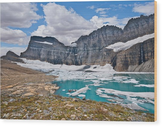 Upper Grinnell Lake And Glacier Wood Print