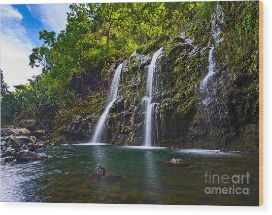 Upper Waikani Falls - The Stunningly Beautiful Three Bears Found In Maui. Wood Print