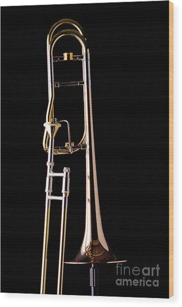Upright Rotor Tenor Trombone On Black In Color 3465.02 Wood Print