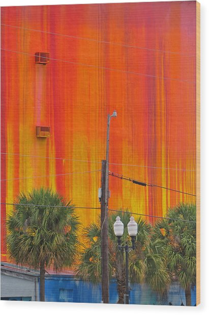 Urban Burn Wood Print
