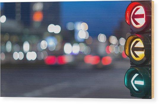 Urban City Street Szene With Colorful Traffic Lights And Bokeh Night Lights Wood Print by Matthias Makarinus