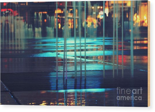 Urban Night Life Wood Print