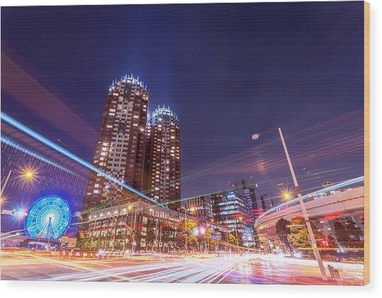 Urban Night View At Tokyo Ariake Wood Print by Photography By Zhangxun