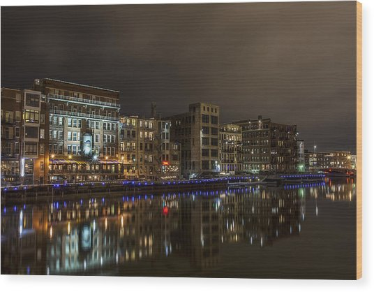 Urban River Reflected Wood Print