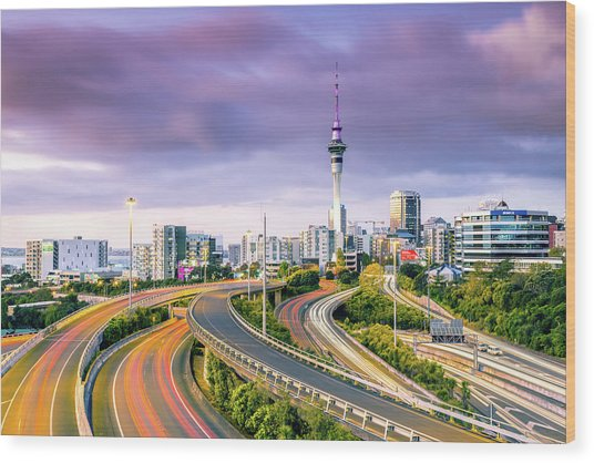 Urban Roads With Traffic Leading To Wood Print by Matteo Colombo