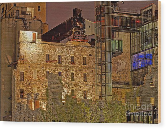 Urban Ruins At Night Wood Print