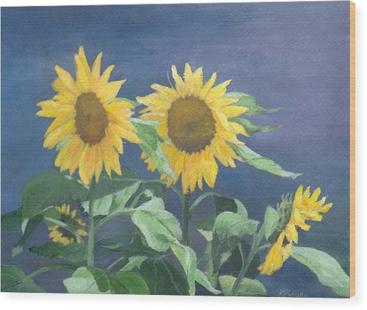 Urban Sunflowers Original Colorful Painting Sunflower Art Decor Sun Flower Artist K Joann Russell    Wood Print