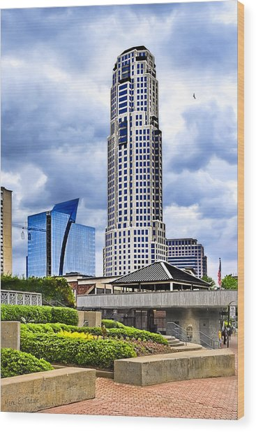 Wood Print featuring the photograph Urbania - Atlanta Buckhead Skyline by Mark E Tisdale