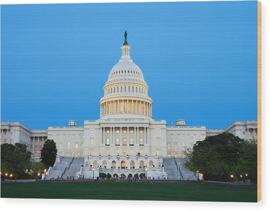 Us Capitol In Washington Dc. Wood Print