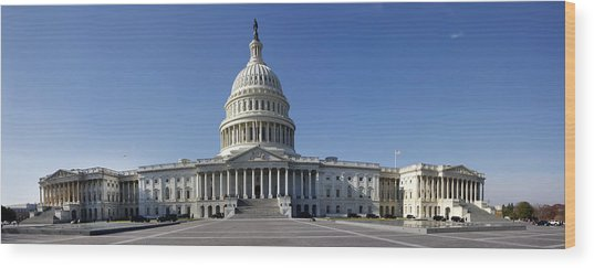 Us Capitol Panorama Wood Print
