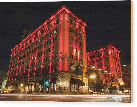 Us Grant Hotel In Red Wood Print