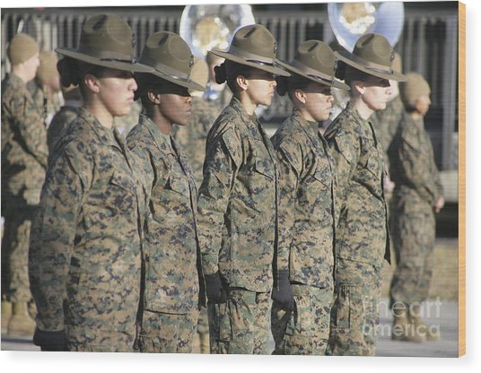 Wood Print featuring the photograph U.s. Marine Corps Female Drill by Stocktrek Images
