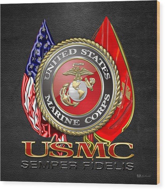 U. S. Marine Corps U S M C Emblem On Black Wood Print