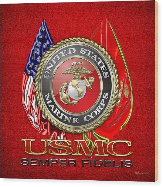 U. S. Marine Corps U S M C Emblem On Red Wood Print