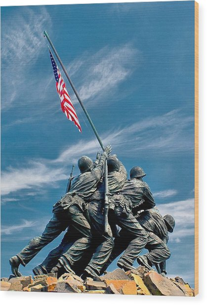 Us Marine Corps War Memorial Wood Print