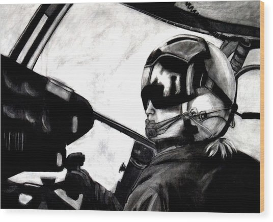 U.s. Marines Helicopter Pilot Wood Print