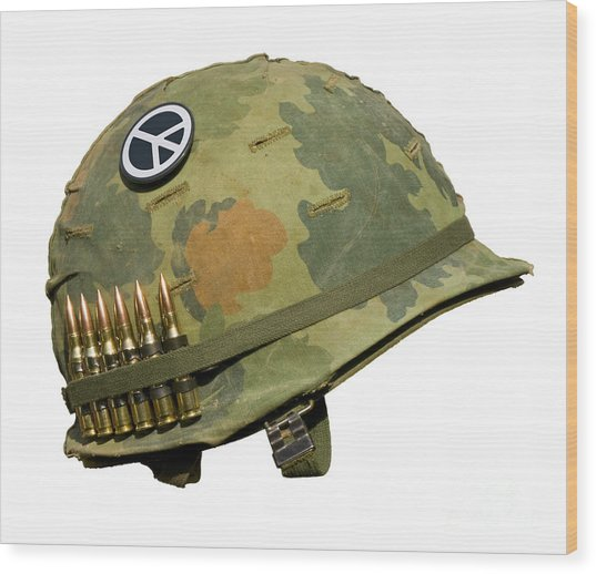Us Vietnam War Helmet - Peace Button Wood Print