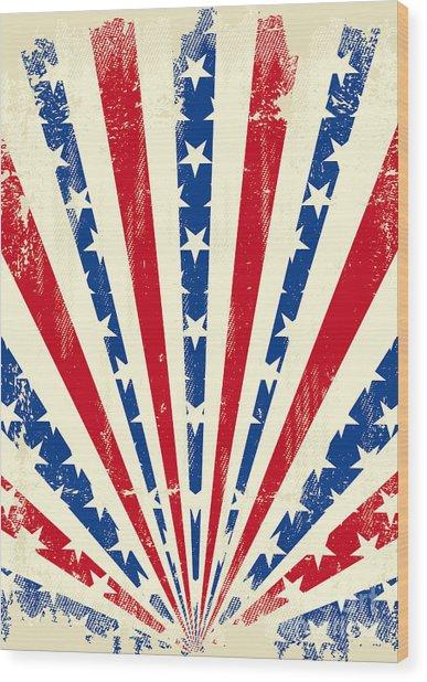 Usa Brushed Sunbeams. A Vintage Wood Print