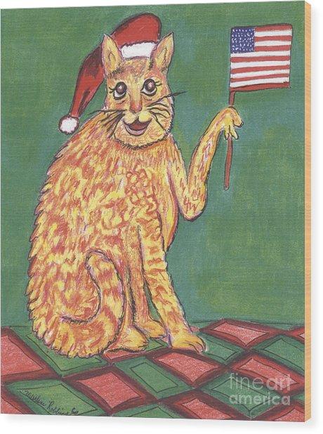 Usa Flag Cat Wood Print by Marlene Robbins