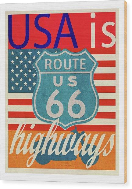 Usa Is Highways Wood Print