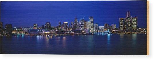 Usa, Michigan, Detroit, Night Wood Print