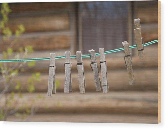 Usa, Montana Clothes Pins Wood Print
