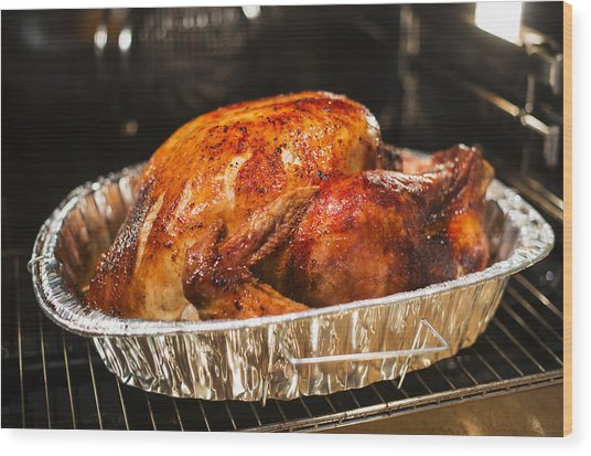Usa, New York State, Roast Turkey Wood Print by Tetra Images