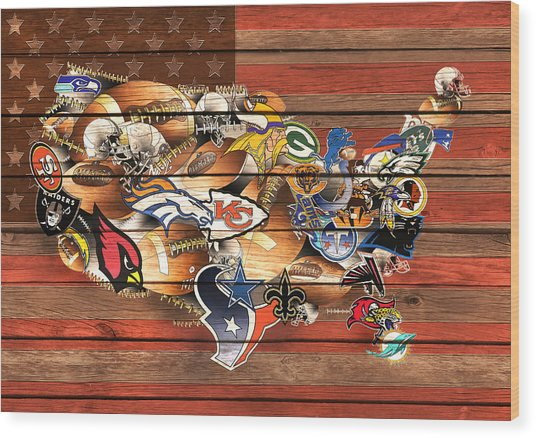 Usa Nfl Map Collage 10 Wood Print