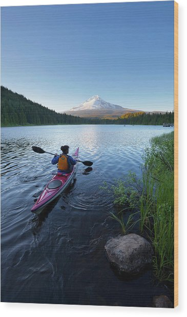 Usa, Oregon A Woman In A Sea Kayak Wood Print by Gary Luhm