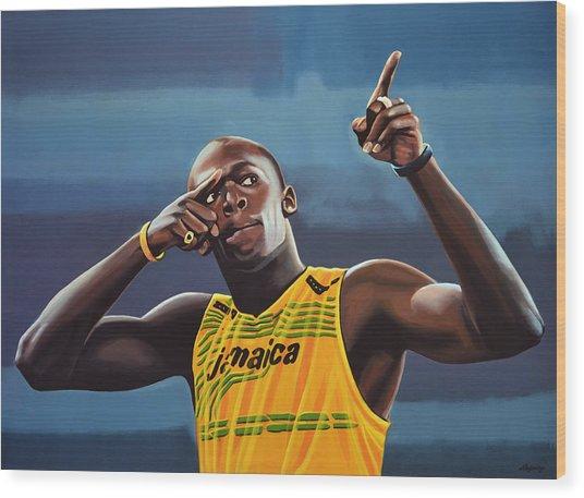 Usain Bolt Painting Wood Print
